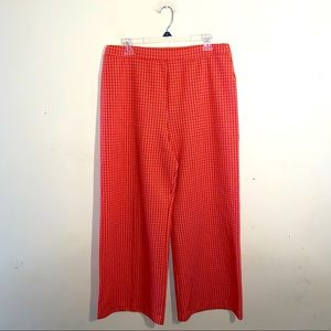 VNTG orange check polyester wide leg trousers